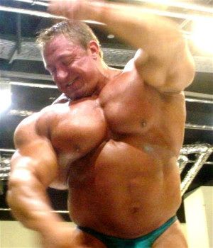 Bodybuilder with steroid belly