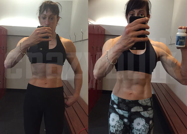 Woman bodybuilder before and after using Anavar